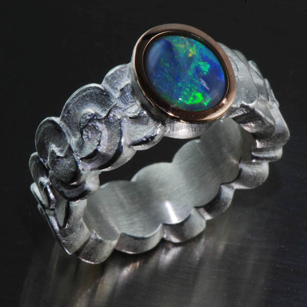 Silberring, Rotgold, black Opal